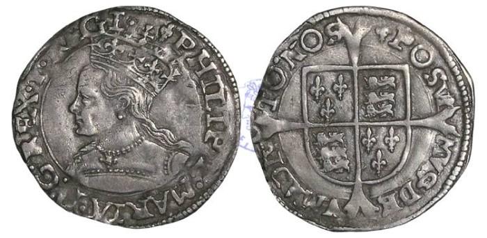 Ancient Coins - H996 - ENGLAND, TUDOR, Philip and Mary (1554-1558), Groat, 1.96g., mm Lis