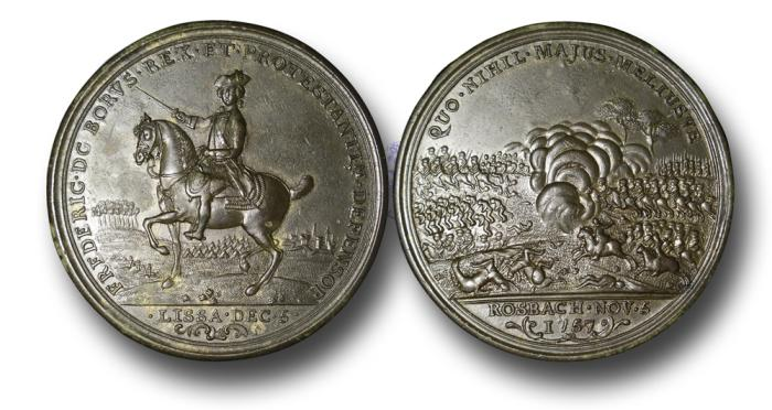 World Coins - M524 - Frederick the Great, the battles of Rosbach (November 5th, 1757) and Lissa (December 5th, 1757), British Ally in the Seven Years War, 1757, Bronze Medal