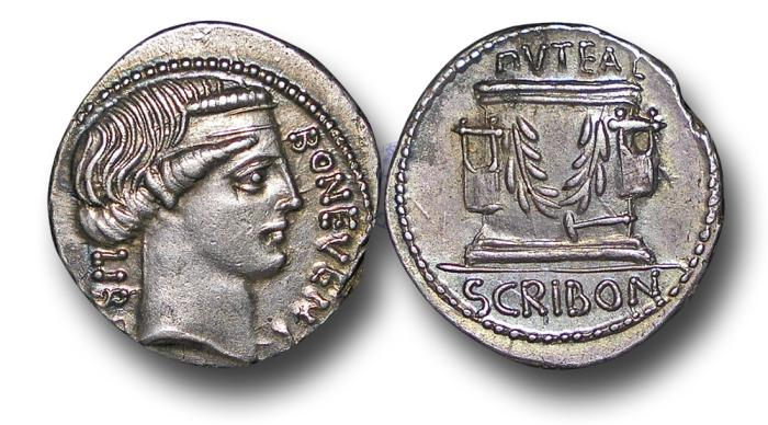 Ancient Coins - RPM54 - Roman Republic, L. Scribonius Libo (62 B.C.), Silver Denarius, 3.94g., 19mm, Rome mint, Scribonian Well