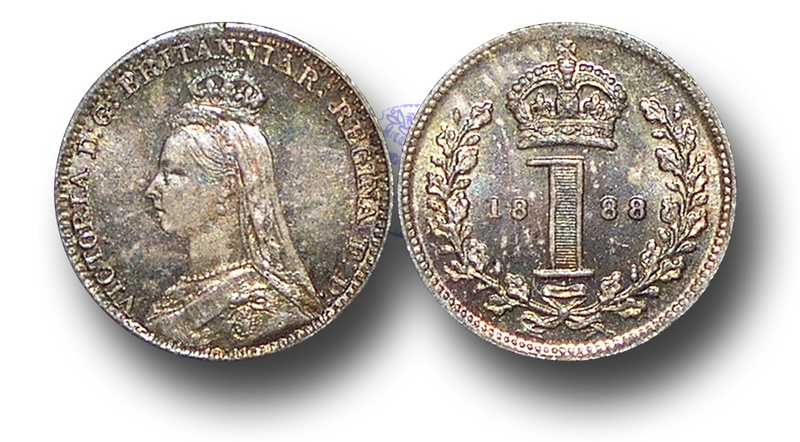World Coins - EM369 - Great Britain, Victoria   (1837-1901), Silver Maundy Penny,  1888