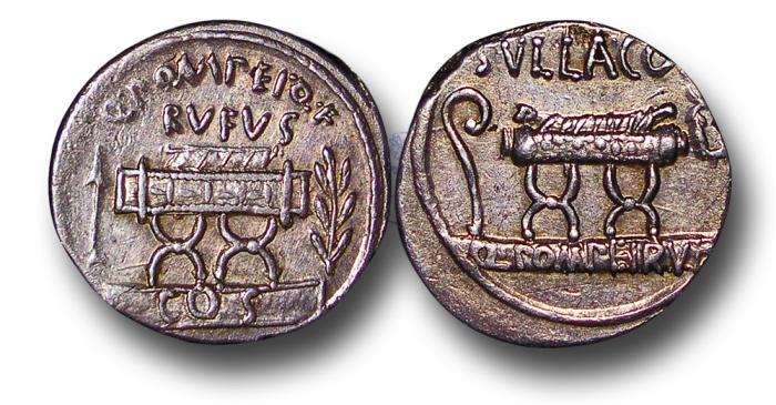 Ancient Coins - RPM42 - Roman Republic, Q. Pompeius Rufus (54 B.C.), Silver Denarius