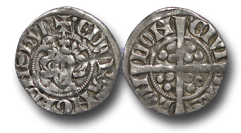 World Coins - H5425 - ENGLAND, PLANTAGENET, Edward I (1272-1307), Penny, 1.33g., 19mm, New coinage, class 4d (1282 to 1289), London mint, pellet at start of both legends