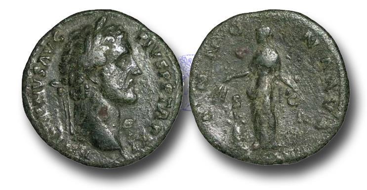 Ancient Coins - R11555 - Antoninus Pius  (138-161), Æ Sestertius, 19.87g., Rome mint, A.D. 147-148