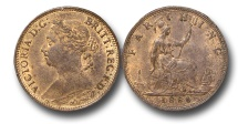 World Coins - EM608 - Great Britain, Victoria (1837-1901), Bronze Farthing, 1886