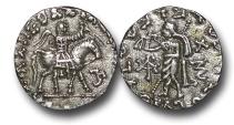 Ancient Coins - IG615 - Indo-Scythian Kingdom, Azes I (c.57-30's B.C.), Silver Drachm