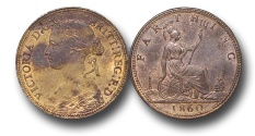 World Coins - EM314 -  	Great Britain,  Victoria   (1837-1901), Bronze Farthing, 1860, Beaded Border