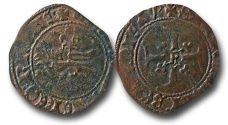 World Coins - SF15 -  Anglo-Gallic, French Royal Coinage, Henry V (as King of France 1415-1422), Contemporary forgery of a Billon Niquet, 1.49g., 23mm, Rouen mint