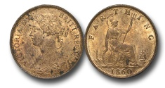 World Coins - EM554 -  Great Britain,  Victoria  (1837-1901), Bronze Farthing, 1860, Beaded Border, (S.3958), orange, uneven toning, uncirculated. $75