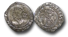 World Coins - H1594 -    ENGLAND, Charles I (1625-1649), Twopence or Halfgroat, 0.99g., London (Tower mint under King 1643-1648), Group g, Hawkins 3a3, m.m. Sun (1645-46)