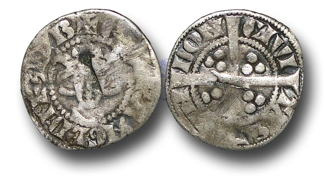 World Coins - H4518 - ENGLAND, Edward I (1272-1307), Halfpenny, 0.62g., New coinage, class 3c (1280 to 1281), London mint