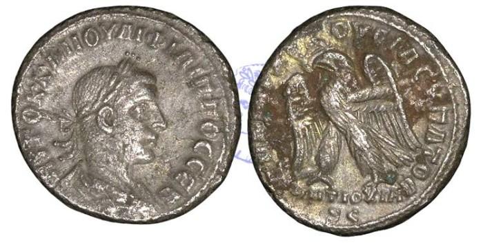 Ancient Coins - R881- Philip II (247-249), Syria, Seleucis and Pieria, Antioch, AR Tetradrachm, 11.16g., struck 249