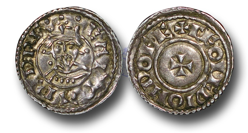 World Coins - WZ14 - ENGLAND, ANGLO-SAXON, Edward the Confessor (1042-1066), Silver Penny, 1.15g., 18mm, Bust Facing - Small Cross type (1062-65), Dover – Ceolwig