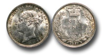 World Coins - GF56 - GREAT BRITAIN, Victoria (1837-1901), Silver Sixpence, Young Head, 1887