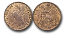 World Coins - EM605 - Great Britain, Victoria (1837-1901), Bronze Farthing, 1884