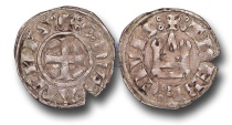 World Coins - CS140 - CRUSADER STATES, Frankish Greece, Duchy of Athens, Guillaume de la Roche, during the Minority of Guy II de la Roche (1280-1287), Billon Denier, 0.99g., 19mm, Thebes mint