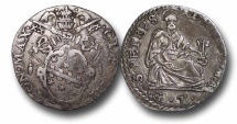 AD69 - ITALY, Papal Coinage, Clement VIII (1592-1605), Silver Testone, 31mm, 9.15g., Rome mint