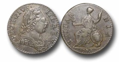 World Coins - EM51 - GREAT BRITAIN, George III (1760-1820), Copper Halfpenny, Contemporary Imitation, 1775