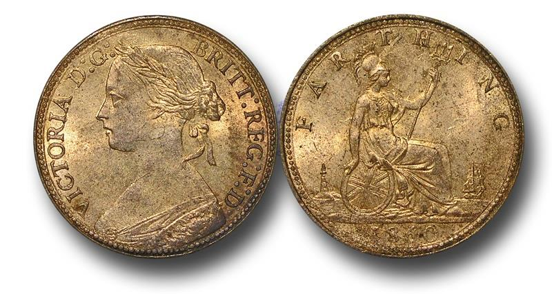 World Coins - MD1455 - Great Britain,  Victoria  (1837-1901), Bronze Farthing, 1860, Beaded Border