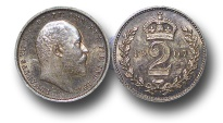 World Coins - EM126 – Great Britain,  Edward VII (1901-1910), Silver Maundy Twopence, 1907