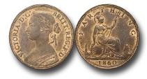 World Coins - EM329 -  Great Britain,  Victoria   (1837-1901), Bronze Farthing, 1860, Beaded Border
