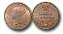 World Coins - EM53 - GREAT BRITAIN, Victoria   (1837-1901), Copper Half-Farthing, 1844