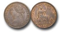 World Coins - EM334 - Great Britain,  Victoria  (1837-1901), Bronze Farthing, 1872