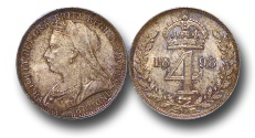 World Coins - EM157 - Great Britain, Victoria   (1837-1901), Silver Maundy Fourpence, Old Head, 1898