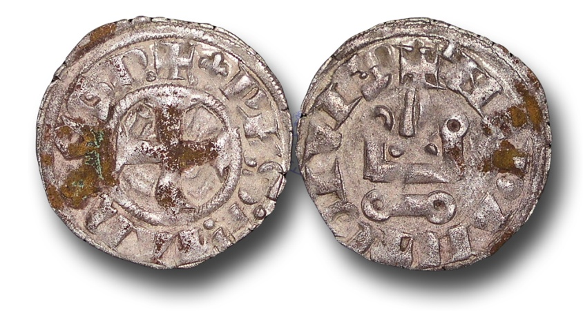 World Coins - CS138 - CRUSADER STATES, Frankish Greece, Neapolitan Princes of Epirus and Corfu, Philip of Taranto (1294-1313), Billon Denier, 18mm, 0.77g., Lepanto mint