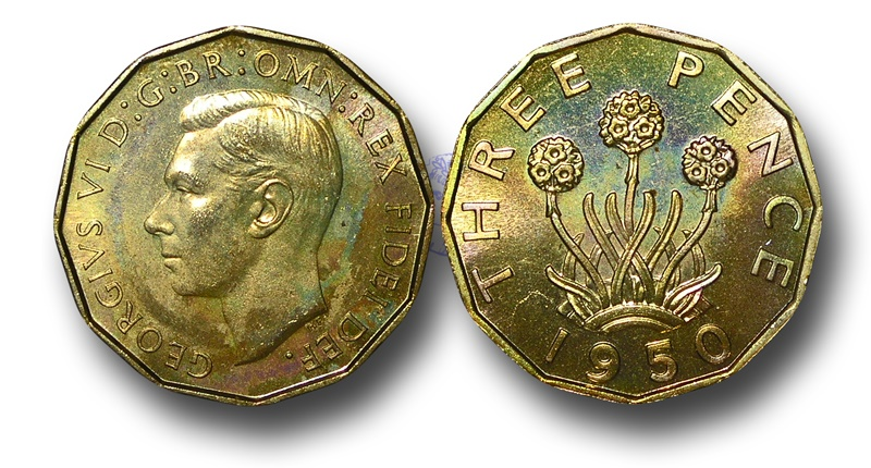World Coins - EM519 - Great Britain, George VI (1936-1952), Proof Brass Threepence, 1950