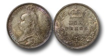 World Coins - EM587 - Great Britain, Victoria (1837-1901), Silver Sixpence, 1887