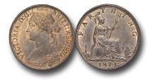 World Coins - EM333 - Great Britain,  Victoria  (1837-1901), Bronze Farthing, 1873