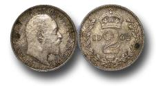 World Coins - MD1128 – 	Great Britain,  Edward VII (1901-1910), Silver Maundy Twopence, 1902, GEF