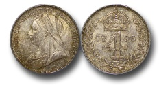 World Coins - EM363 - Great Britain, Victoria   (1837-1901), Silver Maundy Fourpence, Old Head, 1893