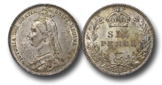 World Coins - EM645 - Great Britain, Victoria (1837-1901), Silver Sixpence, 1887