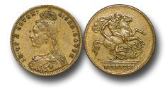 World Coins - MD729 – GREAT BRITAIN, Victoria (1837-1901), Brass Toy or Model Sovereign, dated 1887