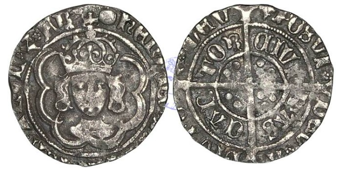 Ancient Coins - H960 - ENGLAND, TUDOR, HENRY VII (1485-1509), Halfgroat, 1.36g., Facing Bust issue, Canterbury mint, the King and Archbishop Morton jointly (1486-1500)
