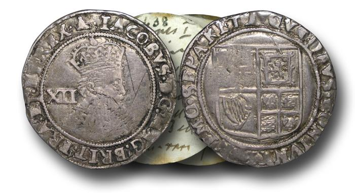 World Coins - H5317 - ENGLAND, James I (1603-1625), Silver Shilling, 5.73g., 31mm, 2nd Coinage, m.m. Bell (1610-11), Fifth bust