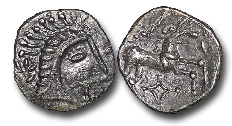 Ancient Coins -  TP2 – British Celtic, Iceni 	(East Anglia),  Face Horse type / Queen Boudicca(?), (died A.D. 61), Silver Unit