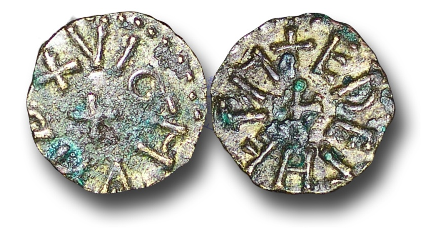 World Coins - H5487 – ENGLAND, ANGLO-SAXON, The Kingdom of Northumbria, Archbishop of York, Wigmund (c.837 - c.850), Copper Styca, 1.29g., 12mm, moneyer Æthelhelm