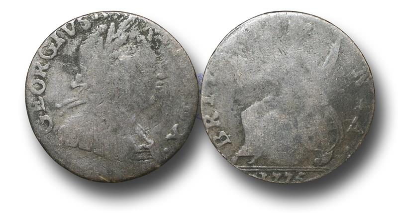 US Coins - MD1114 - GREAT BRITAIN / AMERICAN COLONIES, George III (1760-1820), Copper Halfpenny,  Contemporary Imitation,  1775