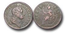 World Coins - EM119 - IRELAND / U.S. COLONIAL, George I (1714-1727), William Wood's 'Hibernia' Coinage, Copper Farthing, Type III, 1723