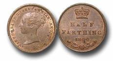 World Coins - MD1153 - GREAT BRITAIN, Victoria   (1837-1901), Copper Half-Farthing, 1844, UNC