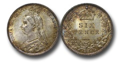 World Coins - EM524 - Great Britain, Victoria (1837-1901), Silver Sixpence, 1887