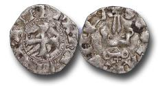 World Coins - CS1122 - CRUSADERS, Principality of Achaea, Maud of Hainaut (1316-1318), Billon Denier, 0.71g., 18mm, Glarentza mint