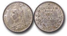 World Coins - EM649 - Great Britain, Victoria (1837-1901), Silver Sixpence, 1887