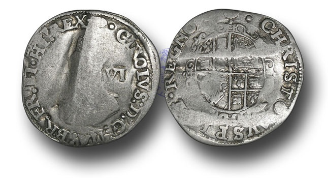 World Coins - RD99 - ENGLAND, Charles I (1625-1649), Tower mint, Silver Sixpence, 2.60g., Type 3a, m.m. Tun
