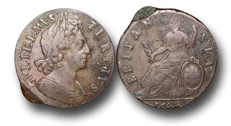 World Coins - EM21 - ENGLAND,      William III   (1694-1702), Copper Halfpenny, 1699 no stops on reverse