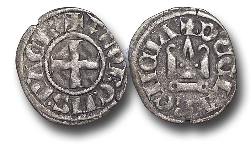 World Coins - CS123 - CRUSADERS STATES, Principality of Achaea, Florent of Hainaut (1289-1297), Billon Denier, 0.71g., 18mm, Corinth? mint