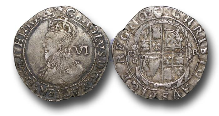 World Coins - H5316 - ENGLAND, Charles I (1625-1649), Sixpence, 3.06g., 25mm, Group D, fourth bust, type 2, m.m. Harp