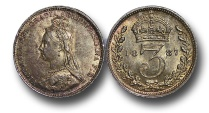 World Coins - MD678 - Great Britain, Victoria (1837-1901), Silver Threepence, 1.42g., 16mm, 1887, Jubilee Head Coinage
